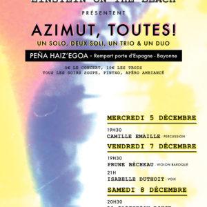 Bayonne, 5,7 et 8 décembre – AZIMUT TOUTES !